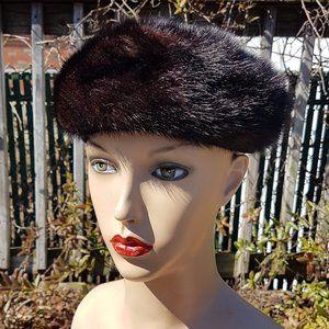 1950s Saks Fifth Avenue Vintage Mink Fur Beret Hat